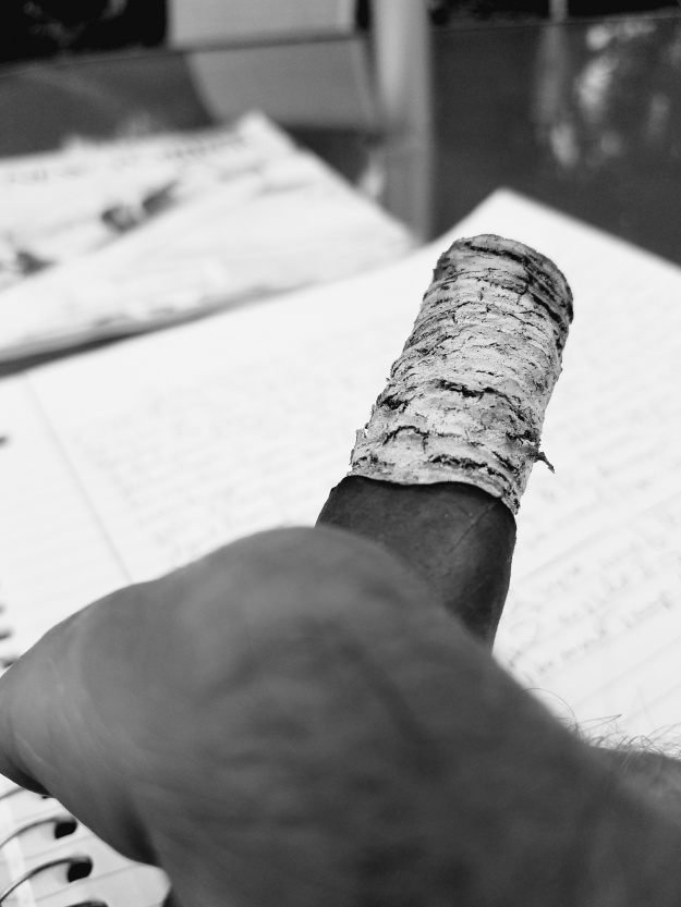 cigar ash finger bw